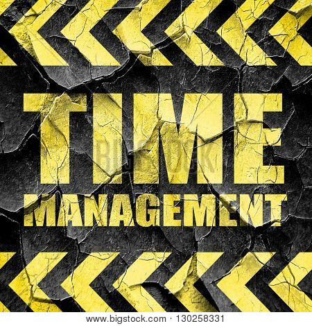 time management, black and yellow rough hazard stripes