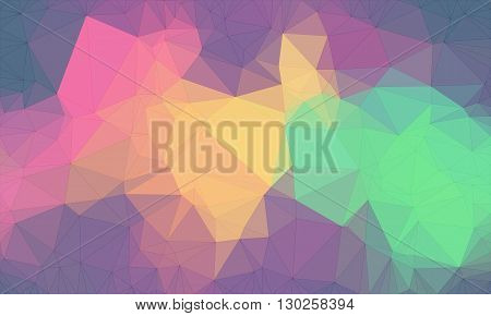 Low poly background design in geometric pattern. polygon wallpaper in origami style. polygonal texture illustration in color yellow and orange and green and pink and purple