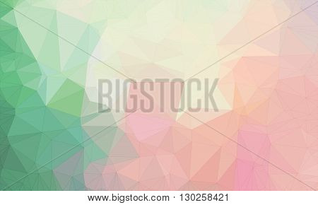 Low poly background design in geometric pattern. polygon wallpaper in origami style. polygonal texture illustration in color light pink and green