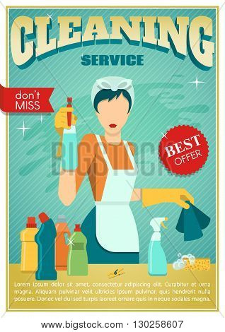 Cleaning poster with an employee in cleaning service and its working tools vector illustration vector illustration