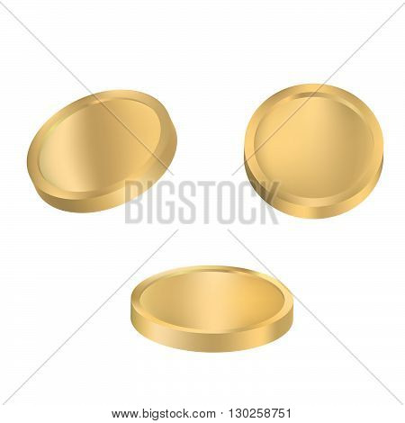 Coin variations vector. Set of gold coins isolated on white background.