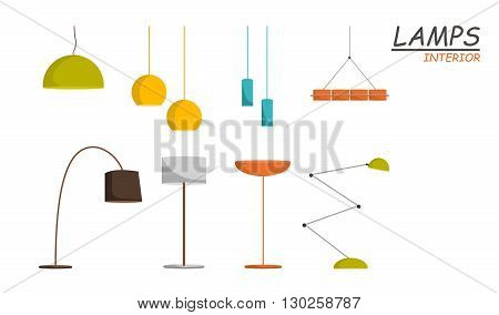 Set of vector lamp. Table lamps. Lamps icon. Ceiling and table lamps.