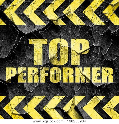 top performer, black and yellow rough hazard stripes