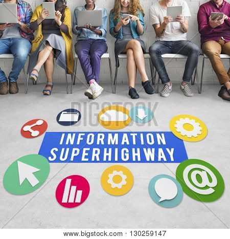 Information Superhighway Online Network Connect Concept