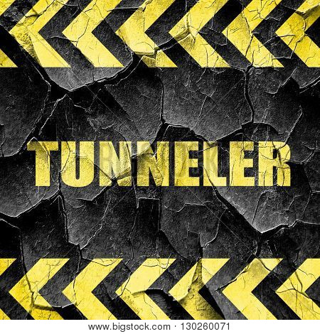 tunnels, black and yellow rough hazard stripes
