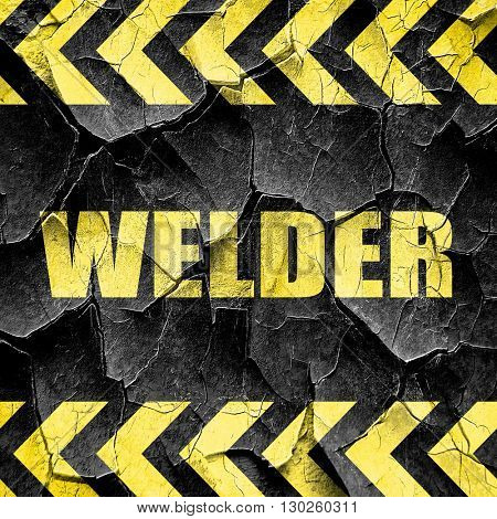 welder, black and yellow rough hazard stripes