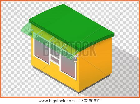 Store flat vector. Kiosk 3d illustration. Counter isometric perspective view.
