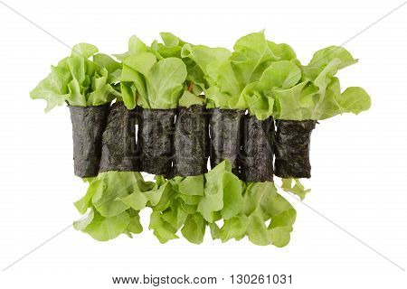 Salad roll alga isolated on white background with clipping path