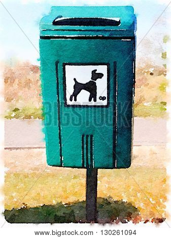 A digital watercolor painting of a dog waste bin in a public area.