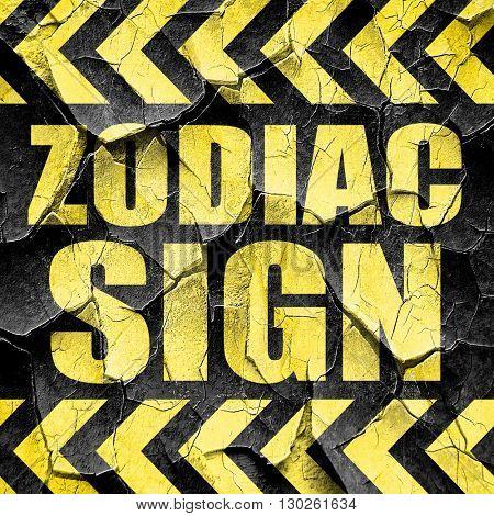zodiac sign, black and yellow rough hazard stripes