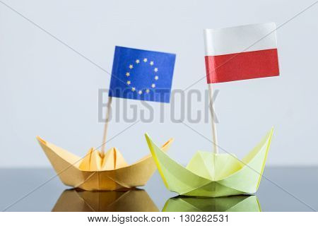 Paper Ship With Polish And European Flag