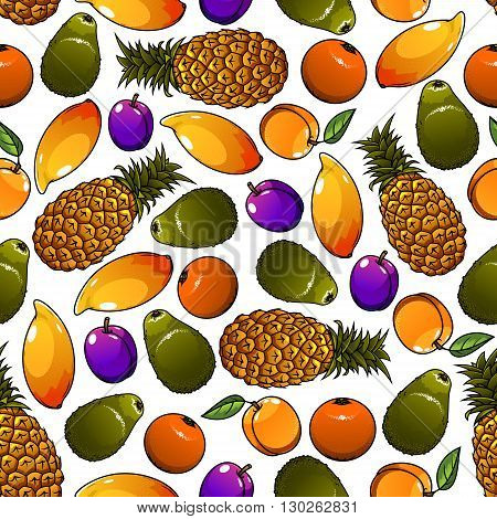 Seamless cartoon pattern of juicy tropical pineapples and mangoes, oranges and avocados, garden plums and peaches fruits over white background. Great for organic farming theme or fruity dessert design