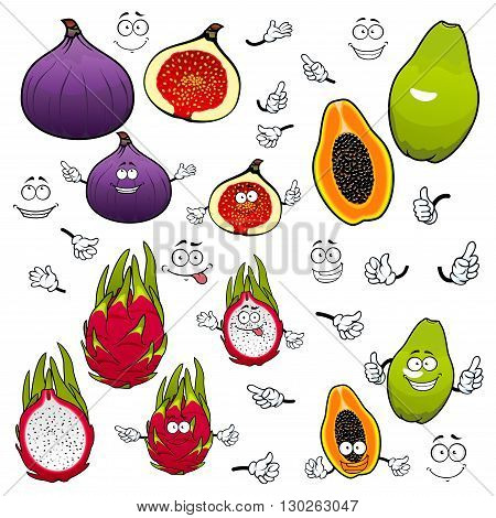 Cartoon flavorful green papaya, juicy pink dragon fruit and sweet purple fig fruits with funny comics faces. Exotic tropical fruits characters for kids menu or vegetarian dessert recipe design