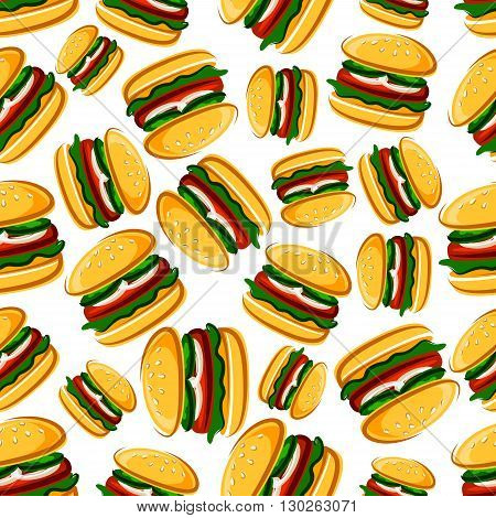 Steak burgers with fresh vegetables background for fast food design with seamless cartoon pattern of burger sandwiches with grilled beef steaks on wheat buns with fresh cucumber, onion and lettuce