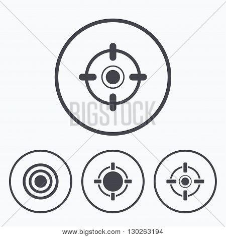 Crosshair icons. Target aim signs symbols. Weapon gun sights for shooting range. Icons in circles.