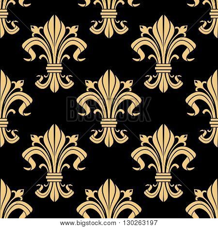 Medieval royal golden fleur-de-lis pattern on black background with seamless french heraldic ornament of victorian floral compositions. Use as vintage interior design or monarchy concept
