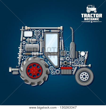 Mechanical parts silhouette of tractor symbol with front and driving wheels, door and exhaust stack, fuel tank and gears, suspension system and bearings, crankshaft and axle, headlights, springs and gauges