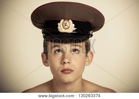 Cute Male Child In Officer Hat
