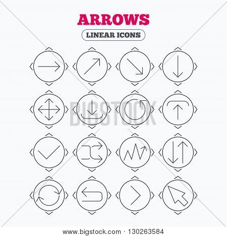 Linear icons with direction arrows. Arrows line icons. Download, upload, check or tick symbols. Refresh, fullscreen and shuffle thin outline signs. Circle buttons.