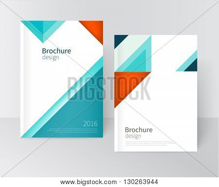 Brochure, leaflet, flyer, cover template. Modern Geometric Abstract background blue & red triangles. diagonal vertical composition minimalistic design concept/ vector-stock illustration 10 EPS