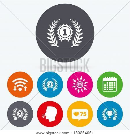 Wifi, like counter and calendar icons. Laurel wreath award icons. Prize cup for winner signs. First, second and third place medals symbols. Human talk, go to web.