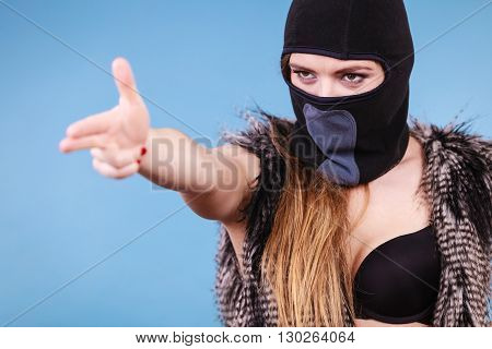 Woman Sexy Girl In Balaclava, Crime And Violence