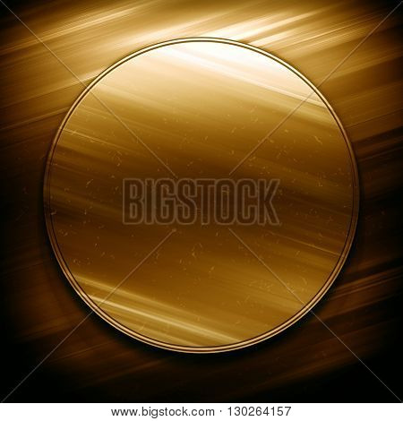 Gold metal. Round gold metal plate. Gold metal. Golden background. Polished gold metal texture