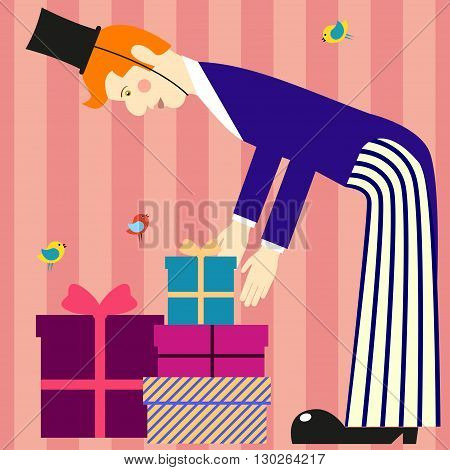 A tall man lays out the gift boxes. A tall man in tails and cylinder hat on striped background