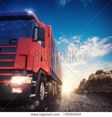 3D rendering transporter truck on a highway