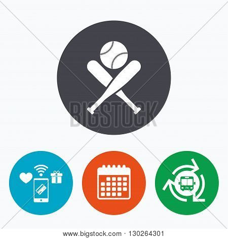 Baseball bats and ball sign icon. Sport hit equipment symbol. Mobile payments, calendar and wifi icons. Bus shuttle.