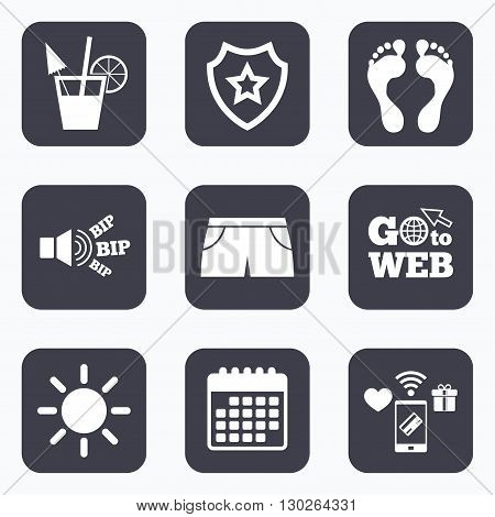Mobile payments, wifi and calendar icons. Beach holidays icons. Cocktail, human footprints and swimming trunks signs. Summer sun symbol. Go to web symbol.