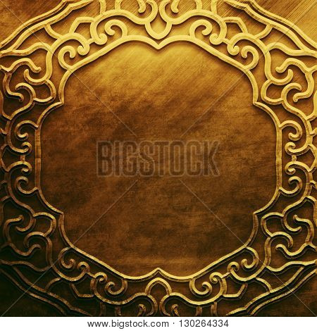 Gold metal plate with classic Arabic ornament. metal collection. Golden texture with metal carved Islamic pattern. Luxury metal design