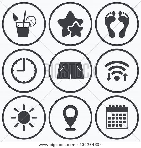 Clock, wifi and stars icons. Beach holidays icons. Cocktail, human footprints and swimming trunks signs. Summer sun symbol. Calendar symbol.