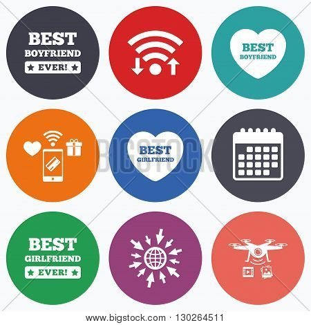 Wifi, mobile payments and drones icons. Best boyfriend and girlfriend icons. Heart love signs. Award symbol. Calendar symbol.