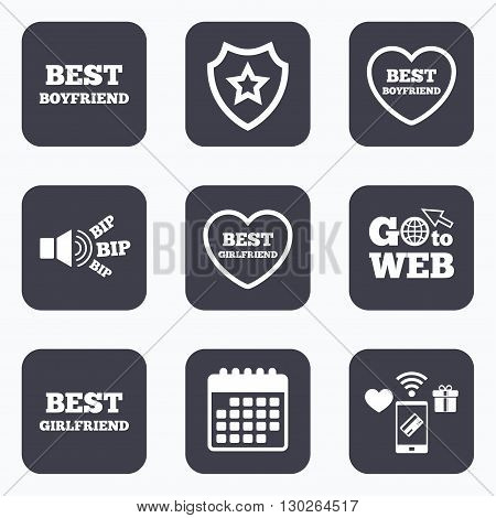 Mobile payments, wifi and calendar icons. Best boyfriend and girlfriend icons. Heart love signs. Award symbol. Go to web symbol.
