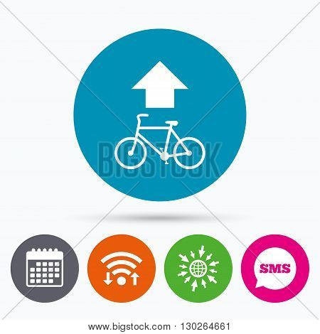 Wifi, Sms and calendar icons. Bicycle path trail sign icon. Cycle path. Up straight arrow symbol. Go to web globe.