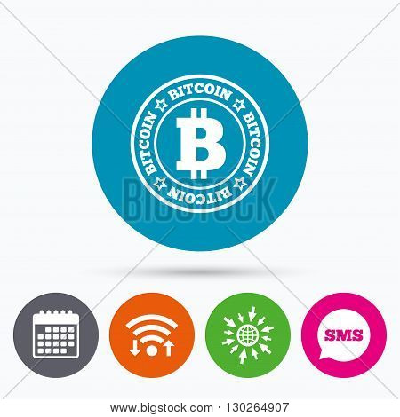 Wifi, Sms and calendar icons. Bitcoin sign icon. Cryptography currency symbol. P2P. Go to web globe.