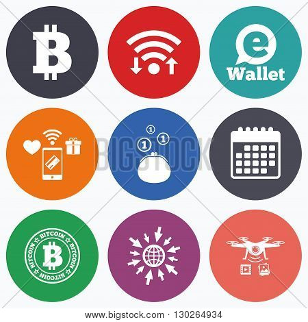 Wifi, mobile payments and drones icons. Bitcoin icons. Electronic wallet sign. Cash money symbol. Calendar symbol.