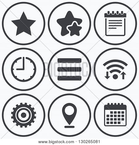 Clock, wifi and stars icons. Star favorite and menu list icons. Notepad and cogwheel gear sign symbols. Calendar symbol.