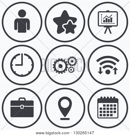 Clock, wifi and stars icons. Business icons. Human silhouette and presentation board with charts signs. Case and gear symbols. Calendar symbol.