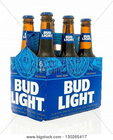 Winneconne WI - 18 May 2016: Six pack of Bud Light with new design on an isolated background