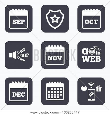 Mobile payments, wifi and calendar icons. Calendar icons. September, November, October and December month symbols. Date or event reminder sign. Go to web symbol.