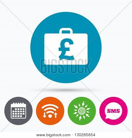 Wifi, Sms and calendar icons. Case with Pounds GBP sign icon. Briefcase button. Go to web globe.