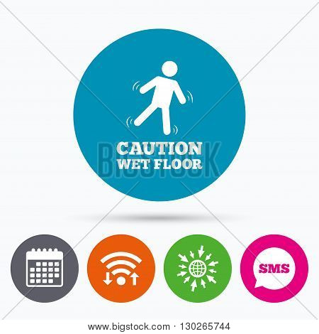 Wifi, Sms and calendar icons. Caution wet floor sign icon. Human falling symbol. Go to web globe.