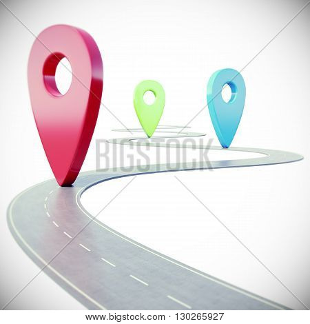 Road path going forward on white background with colorful pin pointer.  3d illustration