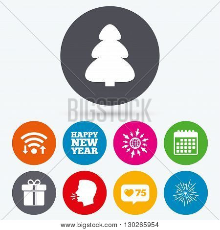 Wifi, like counter and calendar icons. Happy new year icon. Christmas tree and gift box signs. Fireworks explosive symbol. Human talk, go to web.