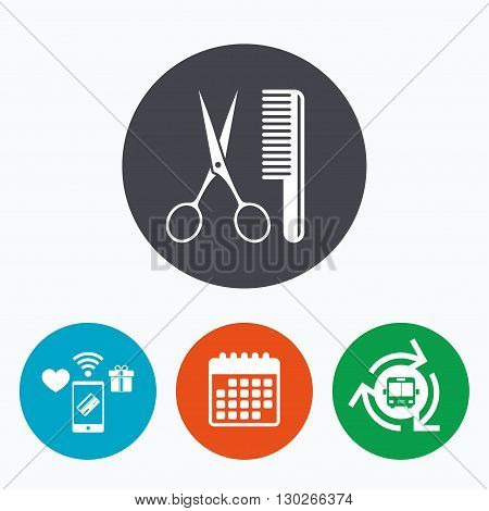 Comb hair with scissors sign icon. Barber symbol. Mobile payments, calendar and wifi icons. Bus shuttle.