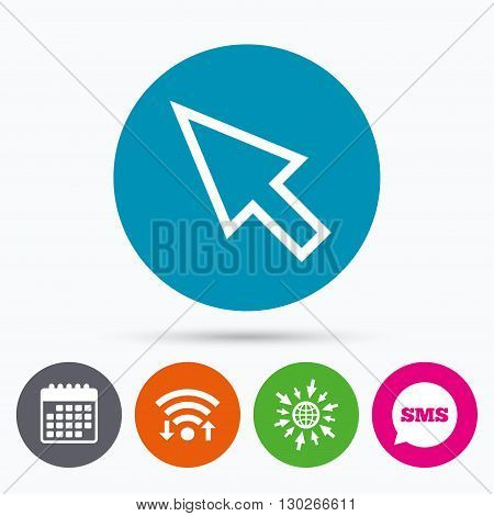 Wifi, Sms and calendar icons. Mouse cursor sign icon. Pointer symbol. Go to web globe.
