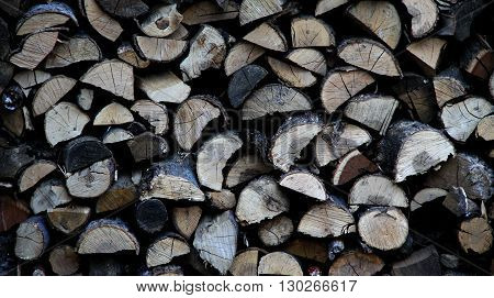 Stack of chopped oak firewoods texture background