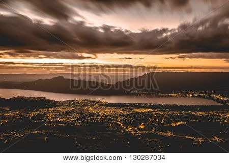 Aix-les-bains By Night. View From Mont Revard In Savoie